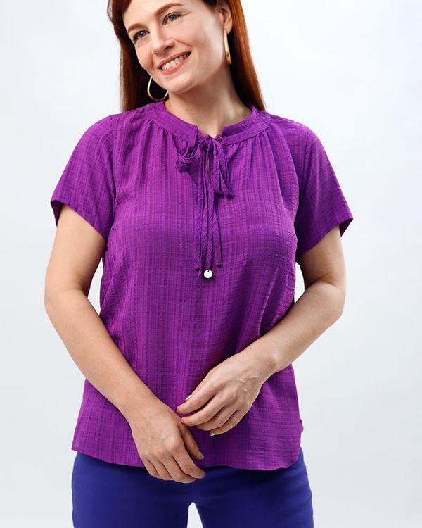 Blusa-Tecido-Texturizado-Decote-Dupla-Amarracao-Berinjela-