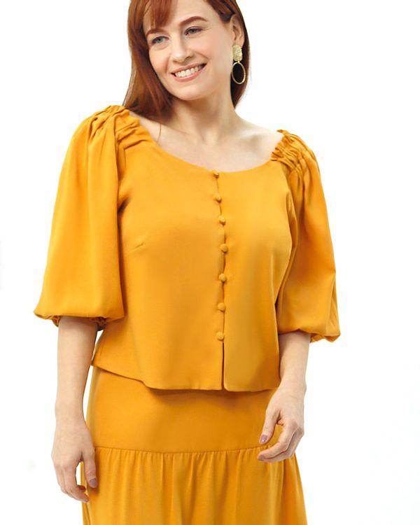 Blusa-Cropped-Crepe-Frente-Botoes-Cobertos-Amarelo