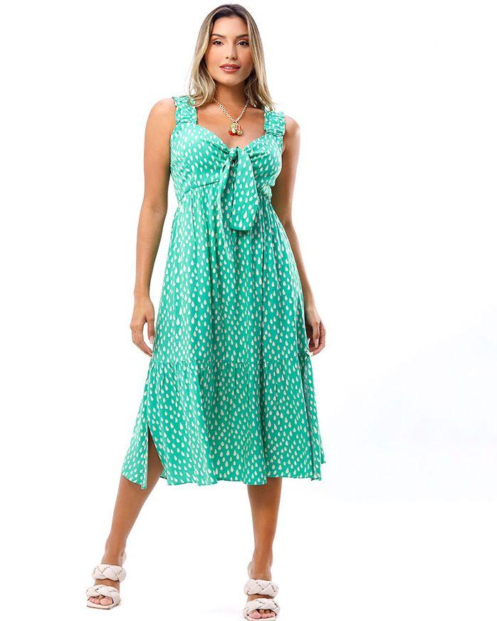 Vestido-Midi-Tecido-Estampado-Verde-