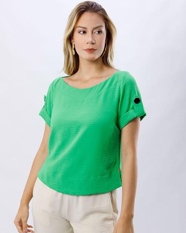 Blusa-Tecido-Texturizado-Mangas-Botoes-Verde-Luz